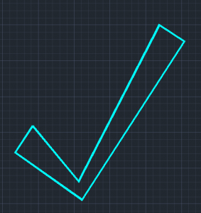 A checkmark created using the polyline tool