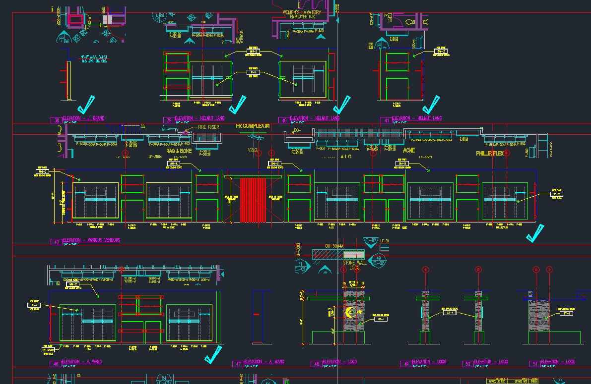 Use special marks to navigate a CAD drawing