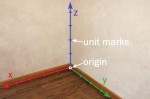 Room corner with origin