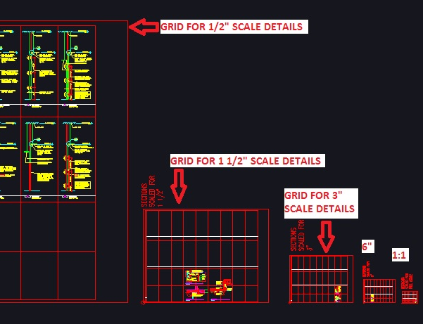 Create a separate layout grid for each scale of detail you intend to use on a sheet