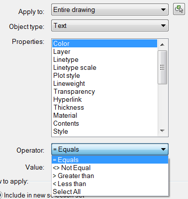 The Operator options in Quick Select