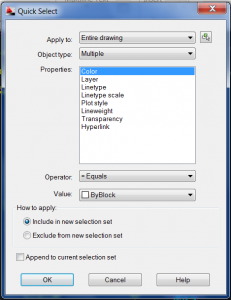Quick Select box in AutoCAD